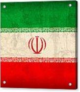 Iran Flag Vintage Distressed Finish Acrylic Print