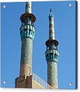 Iran Yazd Mosque Spires  Acrylic Print