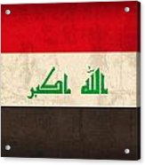 Iraq Flag Vintage Distressed Finish Acrylic Print by Design Turnpike
