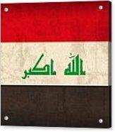 Iraq Flag Vintage Distressed Finish Acrylic Print