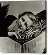 Irene Dunne Lying Down On A Zebra Print Pillow Acrylic Print