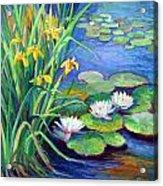 Irises And Lilies Acrylic Print