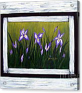 Irises And Old Boards - Weathered Wood Acrylic Print