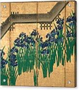 Irises At Yatsuhashi. Eight Bridges Acrylic Print