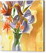 Irises With Stars Of Bethlehem Acrylic Print