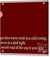 Irish Blessing - Full Moon - Greeting  - Red Acrylic Print