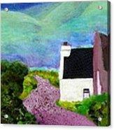 Irish Cottage With Cat Acrylic Print