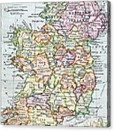 Irish Free State And Northern Ireland From Bacon S Excelsior Atlas Of The World Acrylic Print