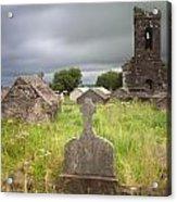 Irish Graveyard Cemetary Dark Clouds Acrylic Print