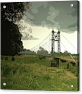 Iron Footbridge Near Doveridge, Elegant Suspension Bridge Acrylic Print