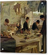 Ironing Workshop In Trouville Acrylic Print by Louis Joseph Anthonissen