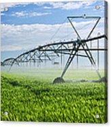 Irrigation Equipment On Farm Field Acrylic Print