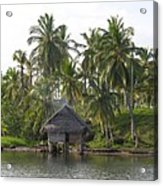 Isla Tigre - Hut Over Water And Palm Trees Acrylic Print