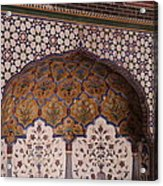Islamic Geometric Design At The Shahi Mosque Acrylic Print by Murtaza Humayun Saeed