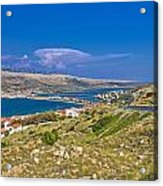Island Of Pag Aerial Bay View Acrylic Print
