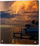 Tropical Island Storm Over Florida Keys Docks Acrylic Print