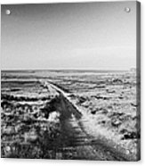 isolated single track road over peat bog heading down to the sea Gweedore county Donegal Republic of Ireland Acrylic Print
