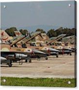 Israeli Air Force F-16`s Of Three Acrylic Print