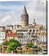 Istanbul Cityscape And Galata Tower Acrylic Print