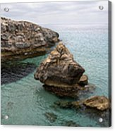It Rocks 2 - Close To Son Bou Beach And San Tomas Beach Menorca Scupted Rocks And Turquoise Water Acrylic Print