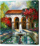 Italian Abbey Garden Scene With Fountain Acrylic Print by Regina Femrite