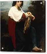 Italian Woman With A Tambourine Acrylic Print by William Adolphe Bouguereau