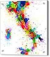 Italy Map Paint Splashes Acrylic Print by Michael Tompsett