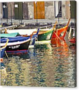 Italy Portofino Colorful Boats Of Portofino Acrylic Print