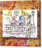 Italy Sketches Venice Two Gondoliers Acrylic Print