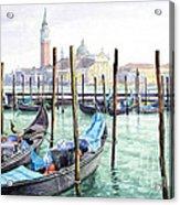 Italy Venice Gondolas Parked Acrylic Print