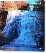 Ithaca Water Falls New York Panoramic Photography Acrylic Print