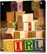 Its A Girl - Alphabet Blocks Acrylic Print