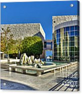 J. Paul Getty Museum Courtyard Fountains Blue Veined Marble Boulders Sculpture Acrylic Print
