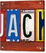 Jack License Plate Name Sign Fun Kid Room Decor Acrylic Print