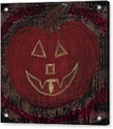 Jack O Lantern Set On A Dark Background With Glowing Flame Acrylic Print