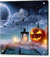 Jack O' Lanterns Glowing At Moonlight Acrylic Print