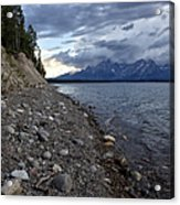 Jackson Lake Shore With Grand Tetons Acrylic Print