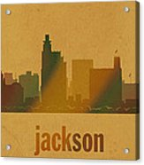 Jackson Mississippi City Skyline Watercolor On Parchment Acrylic Print