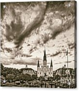Jackson Square And St. Louis Cathedral In Black And White - New Orleans Louisiana Acrylic Print