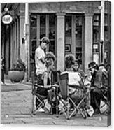 Jackson Square Reading 2 Bw Acrylic Print