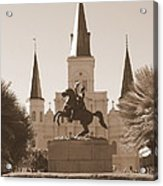 Jackson Square Statue In Sepia Acrylic Print