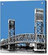 Jacksonville Skyline 2  Main Street Bridge - Slate Blue Acrylic Print