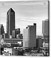 Jacksonville Skyline Morning Day Black And White Bw Panorama Florida Acrylic Print