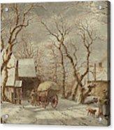 Jacob Cats Dutch, 1741 - 1799, Winter Scene Acrylic Print