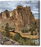 Jagged Peaks And River Reflections Acrylic Print
