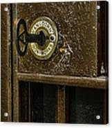 Jail Cell Door Lock  And Key Close Up Acrylic Print