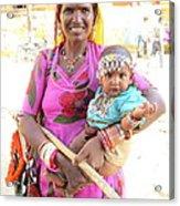 Jaisalmer Mother Daughter Acrylic Print