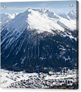 Jakobshorn Davos Mountains And Town Switzerland Acrylic Print