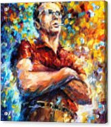 James Dean - Palette Knife Oil Painting On Canvas By Leonid Afremov Acrylic Print