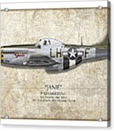 Janie P-51d Mustang - Map Background Acrylic Print
